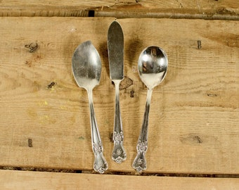 Old Company Plate Signature Assorted Flatware Monogram C  in cursive // Butter Spreader // Jelly Spoon // Teaspoon
