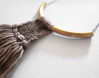 Woven Pendant, textile necklace // WARRIOR NECKLACE in TAUPE // chunky tassel necklace, fringe jewelry, weaving art