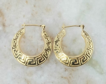 14K Yellow Gold Hollow Greek Key Etched Hoops - 2.0 Grams