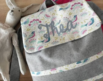 Backpack personalized Grey Heather and birds