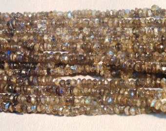 Semi Precious faceted roundels beads, Smoky topaz  size 4mm- 4.50 mm approx.1 strandx14 inch FREE SHIPNG