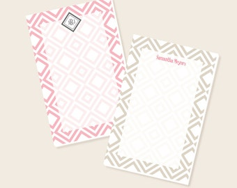 Personalized Notepad, Monogrammed Notepad, To Do List, Custom Letterhead, Stationery, Stationary, Business Letterhead,  Diamond Pattern Pad