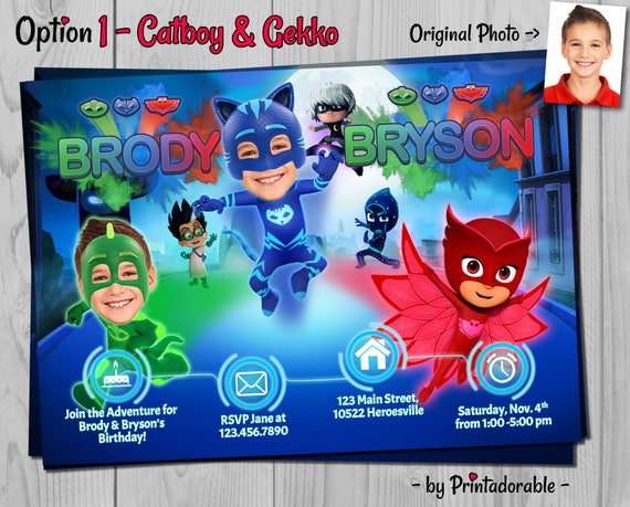 PJ Masks Invitation - PJ Masks Twins - PJ Masks Siblings - Pj Masks Brothers - Pj Masks - Pj Masks Invite - Catboy Invite - Owlette Invite
