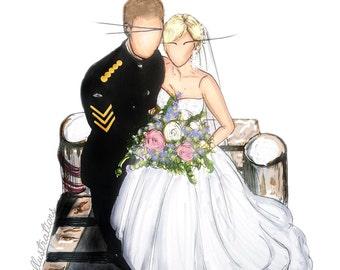 Custom Bride & Groom illustration - A4 Print + Digital Download/ unframed / Gift /  Wedding / Present / 1st anniversary gift / Wedding Dress