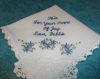 Something blue wedding handkerchief, hand embroidered, for your tears of joy, pineapple crochet hanky, wedding colors welcome