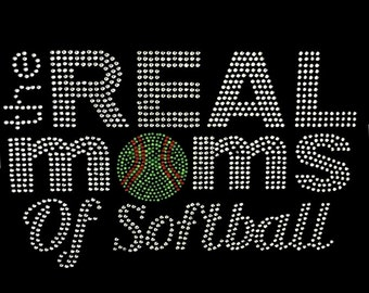 """Made to Order Rhinestone """"Real Moms of Softball """" V-Neck Tee!  Small - 3X!"""