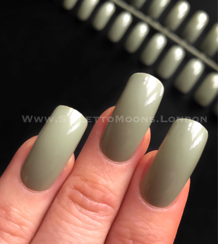 Olive green creme false nail set coffin American curve shape 24 pieces