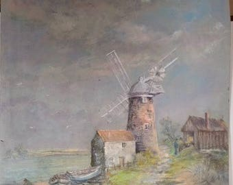 An Original Pastel of a Normandy scene, signed and dated Rampton 1975