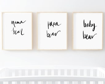 Instant Download, Mama Bear Papa Bear Baby Bear, Printable Wall Art, Home Decor