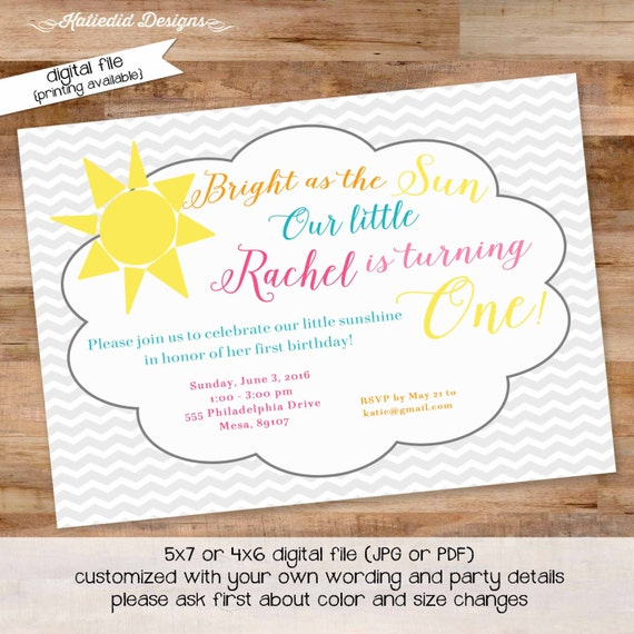 little girl 1st birthday invitation first communion invitation shower with love you are my sunshine bright as the sun 248 Katiedid Designs