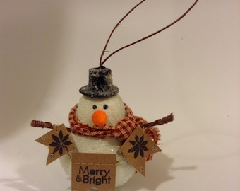 Adorable Handmade Christmas Snowman Ornament - Stamped Bunting Banner - Gingham Scarf - Unique