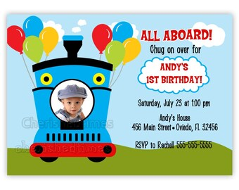 All Aboard Train Birthday Invitation With Picture or Without (You Print)