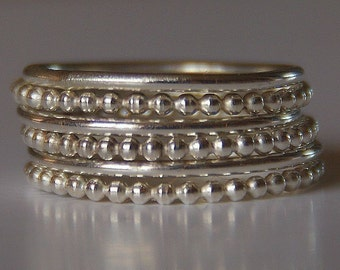 Set of 6 Stacking Silver Bead (beaded) Rings sizes 4,5,6,7,8,9,10,11