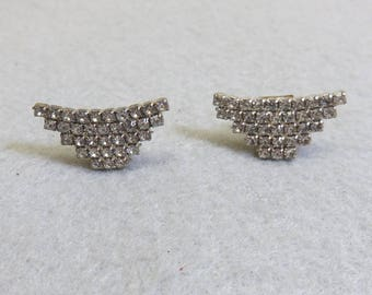 1960s Vintage Wedding or Formal Rhinestone  Shoe Clips, Art Deco Design Shoe Clips
