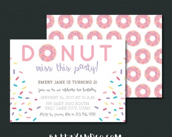 Donut Birthday Invitation | Doughnut Birthday Invite | DONUT Miss This Party | DONUT Grow Up | Pink or Brown | 5x7