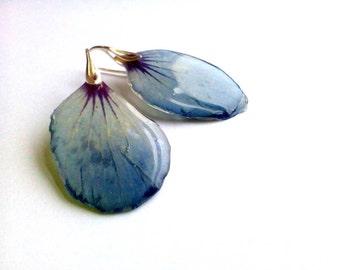 Blue real flower petal resin earrings Clear rein jewelry Floral earrings