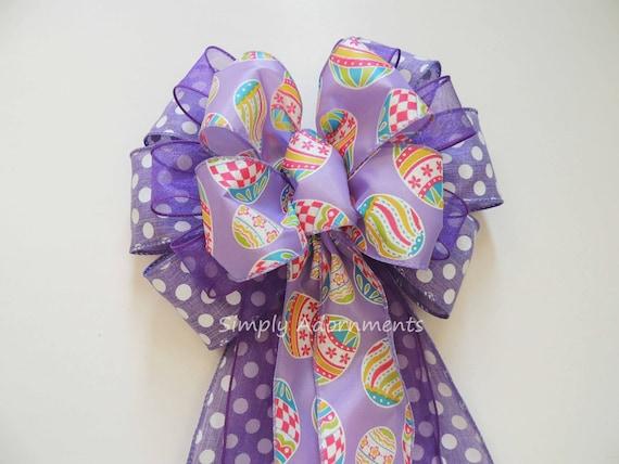 Purple Easter Wreath Bow Purple Easter Door Hanger Decoration Purple Easter Baby Shower Decor Purple Lavender Easter Gift Basket Bow