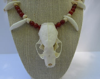 Real Mink Skull Coyote Teeth  Necklace Red Agate Buffalo Bone  Beads Jewelry Burning Man Statement N231