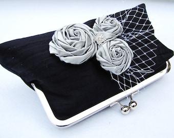 Black dupioni silk clutch with silver rosettes and rhinestone, clutch for the bride, wedding purse
