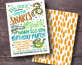 Reptile Party Invitation Boys Birthday Invitation Reptile