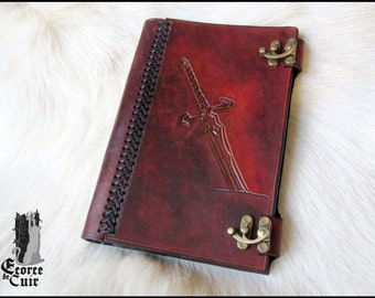 Leather pattern sword format A5 - real leaves of parchment included books / Handmade leather spell book with parchment paper