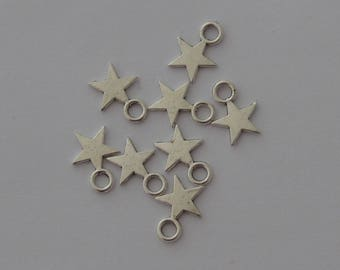20 small charms antique silver stars 11x9mm