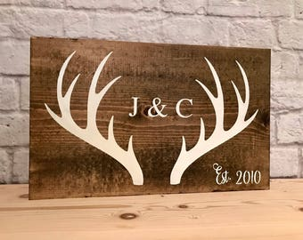 Couples antler sign, wedding gift, anniversary gift, rustic decor, antler sign