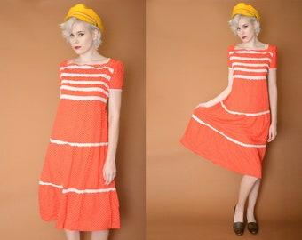 Vintage Polka Dot Dress Midi