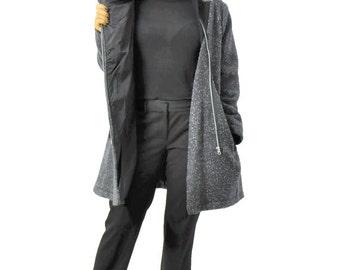 Wool coat/Woman zipper coat/Asymmetrical wool coat/Winter warm coat/Dark gray coat/High collar black/Coat with pockets/Gray winter coat