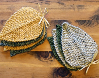 Hand Knit Leaf Coasters - Grey & Mustard (Set of 4)