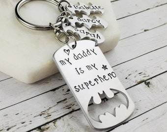 "Daddy Keychain-Hand Stamped ""My Daddy Is My Superhero"" Daddy Keyring-Personalised Father's Day Gift-Batman Keychain-Dad Keychain"