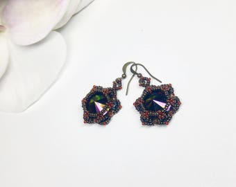 Swarovski holographic crystal earrings, Dangle  handmade earrings
