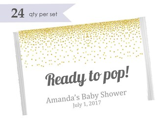 Ready to Pop Stickers- Ready to Pop Labels- About to pop stickers- about to pop baby shower- ready to pop baby shower popcorn