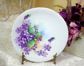 Vintage Handpainted Violets Plate Signed