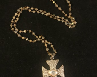 Moonstone cross pendant