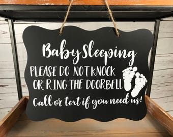 Baby Sleeping Footprints Sign/No Soliciting Sign/Quiet, Baby Sleeping Sign