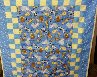 Blue and Yellow Animal Print Quilt