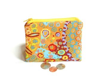 Boho print change purse zipper pouch business card holder, colorful bold modern fabric for women girls