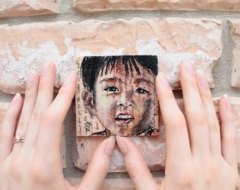Original Miniature Portrait on Wood (three options); Children of Saigon Series