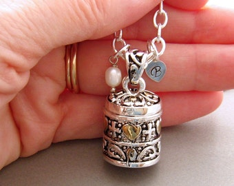 Prayer Box Necklace, Secret Compartment Locket Necklace, Hearts and Cross Personalized Prayer Box Necklace, Sterling Silver Chain