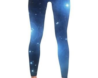 Blue Galaxy Leggings - Universe Cosmic Galaxy Tights Yoga Nebula Workout Pants