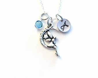 Little Girl Jewelry, Fairy Moon Necklace, Gift for Teenager Personalized Present, Silver Crescent angel sitting Long short Canadian Seller