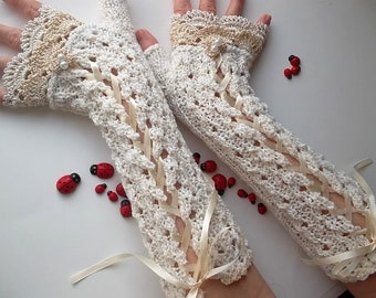 Crocheted Cotton Gloves L Ready To Ship Victorian Fingerless Summer Women Wedding Lace Evening Hand Knitted Bridal Opera Ivory Corset B78