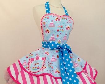 Cakeshop Cupcake PinUp Apron, Retro Apron , Woman's Apron, Polka Dots, Kawaii