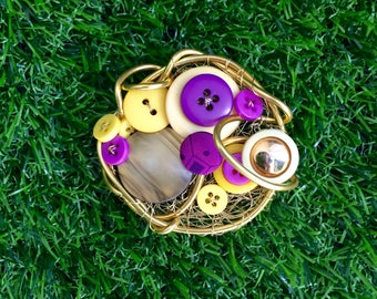 Purple Button Brooch, Retro, Vintage Button Brooch, Yellow, Gold Brooch, Colourful