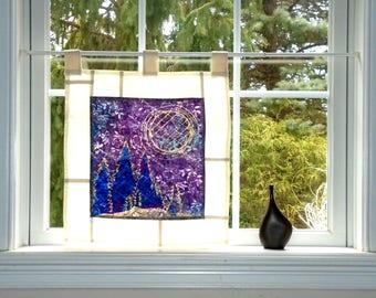 Quilted Moon~ Bleached Art Batik Pojagi Patchwork Window Treatment ~ boho dorm ~ bohemian cafe ~ boudoir curtain