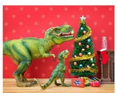 30% OFF SALE Funny Christmas dinosaur decor - The Holly and the T. Rex