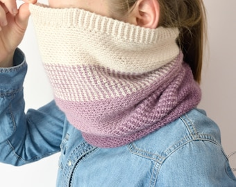 Crochet Ombre Moss Stitch Cowl instant download PDF PATTERN wearable garment modern cowl US terms