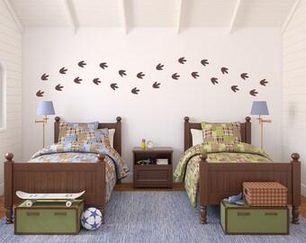 Dinosaur Footprints Wall Decal Set - Boy Bedroom Decor - Dinosaur Tracks Set of 24 - Medium Size