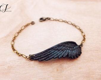 Men's Bracelet, Couples Bracelets, Gothic Bracelet, Mens Gifts For Guys, Fallen Angel Bracelet Black Angel Wing Bracelet Black Magic Jewelry